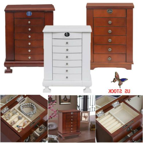 wood jewelry cabinet vintage armoire box mirror