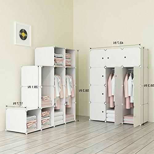 JOISCOPE MEGAFUTURE Portable Hanging Clothes, Armoire, Modular Cabinet for Saving, Ideal Storage Cube for Toys, Towels