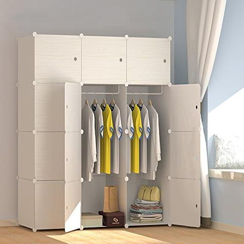 JOISCOPE MEGAFUTURE Wood Portable Hanging Clothes, Combination Armoire, Modular Space Saving, Storage Organizer Cube Towels