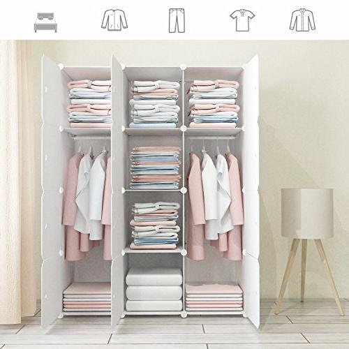 JOISCOPE Pattern Portable Wardrobe Closet for Hanging Clothes, Modular Saving, Organizer Cube for Books, Towels