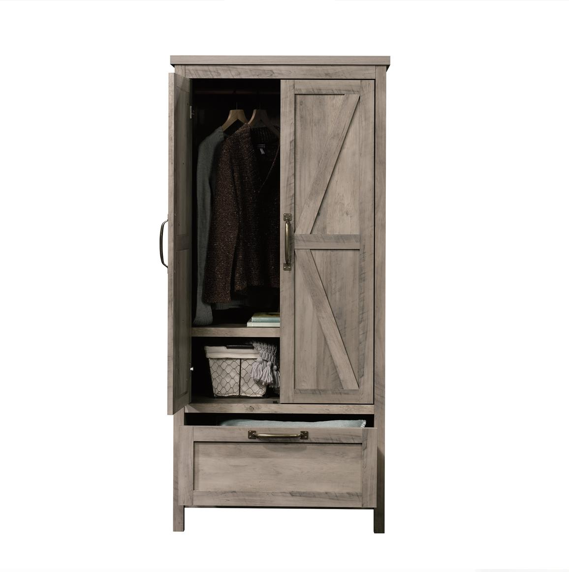 Wood Wardrobe Armoire Storage Clothes Shelf Hanging