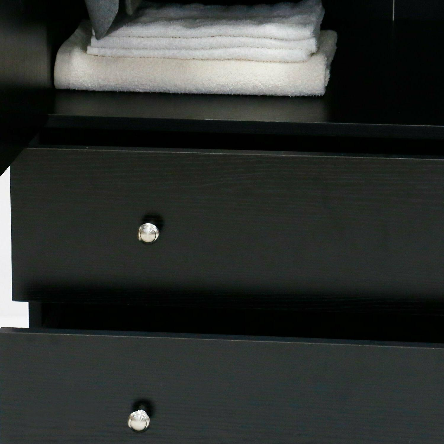Wooden Armoire Wardrobe Cabinet Closet Drawers Black