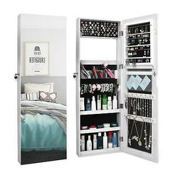 Lockable Mirror Jewelry Cabinet Armoire Makeup Storage with