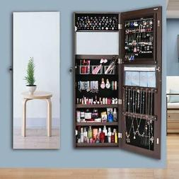 "Large 47"" Jewelry Mirror Organizer Wall Holder Armoire Lock"