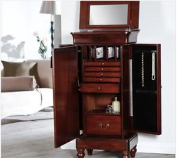 Large Jewelry Armoire Free Standing Vintage Walnut Cabinet A