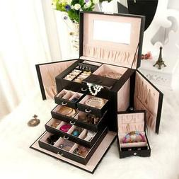 Large Jewelry Box Watch Case Beads Earring Ring Armoire Stor