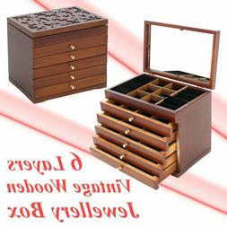 Large Wood Jewelry Cabinet Armoire Box Storage Case Chest St