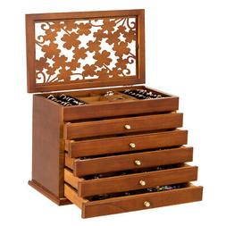 Large Wooden Jewelry Box Cabinet Armoire Case w/ 5 Drawers &
