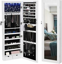 "LED Light Cabinet Lockable 47.3"" H Wall/Door Mounted Jewelry"