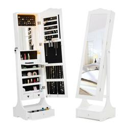 LED Mirrored Jewelry Cabinet Armoire Storage Organizer Box F