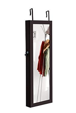 Giantex Wall Door Jewelry Cabinet with Mirror and 8 LED Ligh