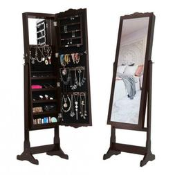 LANGRIA LED Lockable Carved Jewelry Armoire Cabinet Free-Sta