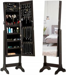 Lockable Full Length Mirror Jewelry Cabinet Dressing Armoire