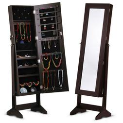 Lockable Jewelry Cabinet Armoire Mirror Organizer Home Stora