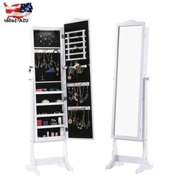 Lockable LED Mirrored Jewelry Cabinet Armoire Organizer Stor