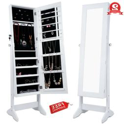 Lockable Mirrored Jewelry Armoire Home Storage Cabinet Organ
