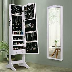 Lockable Mirror Jewelry Cabinet Dressing Armoire Mirror Orga