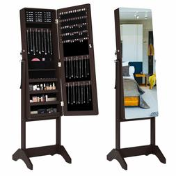 Lockable Mirrored Jewelry Cabinet Armoire Mirror Organizer S
