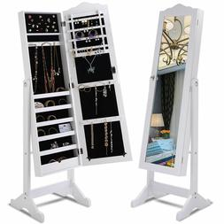 Lockable Mirrored Jewelry Cabinet Armoire Organizer Storage
