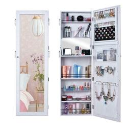 Lockable Mirrored Jewelry Wall Cabinet Armoire Mirror Hang O