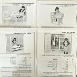 """Lot of 4 Meisel Wood Hobby Patterns for 18"""" Doll - Bed Table"""