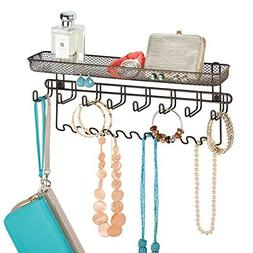 mDesign Decorative Metal Closet Wall Mount Jewelry Accessory