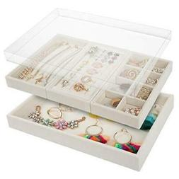 Mebbay Drawer Organizer 4 in One Stackable Velvet Jewelry Tr