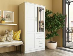 Metro 2-Door Wardrobe/Armoire/Closet with Mirror and 3 Drawe