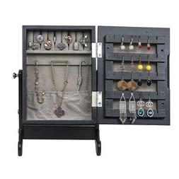 Mini Mirrored Jewelry Armoire Earings Ring Necklace Storage