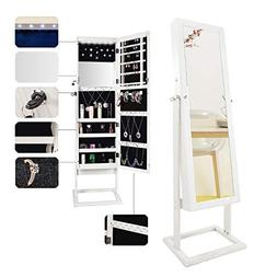 Bonnlo Cheval 6 LEDs Jewelry Armoire Stable Square Freestand