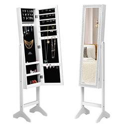 Giantex Mirrored Jewelry Cabinet Armoire with Mirror w/Resin
