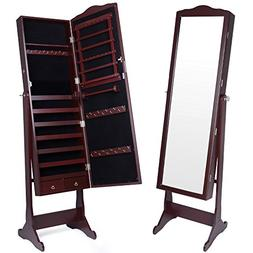 Kendal Mirrored Jewelry Cabinet Armoire Lockable Standing Or