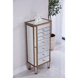 MIRRORED CABINET DRESSER JEWELRY ARMOIRE GOLD LIVING ROOM BE