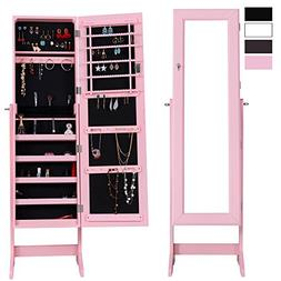 Cloud Mountain Mirrored Jewelry Cabinet Free Standing Lockab