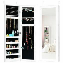 Mirrored Door & Wall Mounted Jewelry Cabinet Armoire Storage