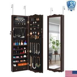 Mirrored Jewelry Cabinet Armoire Storage Organizer Door/Wall