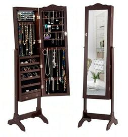 Giantex Mirrored Jewelry Cabinet Armoire Storage Organizer W
