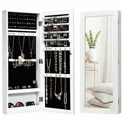 Mirrored Jewelry Cabinet Armoire Storage Organizer Wall Moun