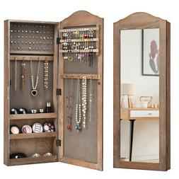 Mirrored Jewelry Cabinet Armoire Storage Organizer Wall Hang
