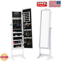 mirrored jewelry cabinet lockable armoire organizer stand
