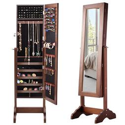 Mirrored Jewelry Cabinet  w/ Stand Armoire Storage Organizer
