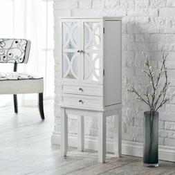 Belham Living Mirrored Lattice Front Jewelry Armoire - High