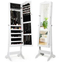 Mirrored Lockable Jewelry Cabinet Armoire Organizer Storage