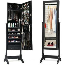 Mirrored Lockable Jewelry Cabinet Armoire Storage Organizer