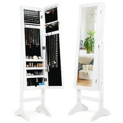 Mirrored Modern Jewelry Cabinet Armoire Organizer Storage LE