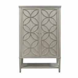 HomeFare Modern Armoire with Carved Silver Leaf Overlay