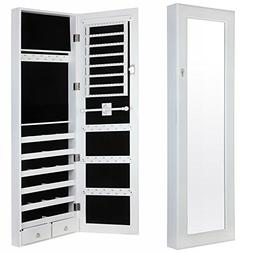 Homegear Modern Door/Wall Mounted Mirrored Jewelry Cabinet O