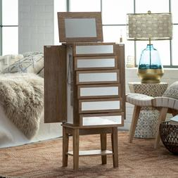 Modern Glam Rustic Ash Mirrored Freestanding Jewelry Armoire