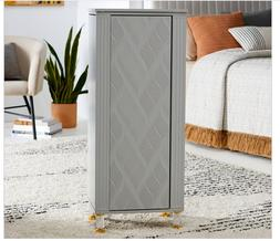 Modern Gray Wood Freestanding Jewelry Armoire Cabinet Holder