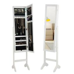 Modern LED Light Mirrored Jewelry Cabinet Armoire Storage Or